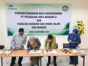 penandatanganan nota kesepahaman/Memorandum of Understanding (MoU) dengan pihak PT Pegadaian area Manado II